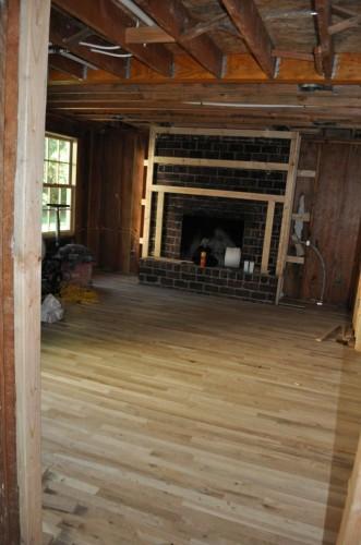 Living Room Unfinished New Wood Floors