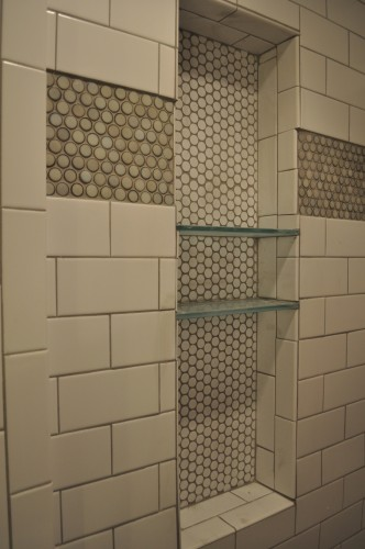 Baby Boy Bathroom - Glass Shower Shelves (1)