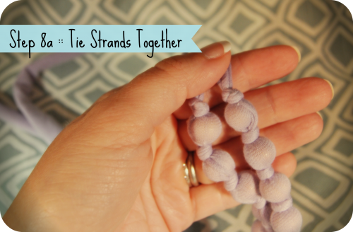 Step 8a Tie Stands together with knot