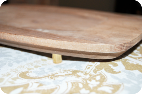 Wooden Tray Gold Feet
